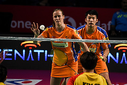 January 13, 2018 - Hyderbad, Telangana, India - Kamilla Rytter Juhl and Law Cheuk Him of Ahmedabad Smash Masters in action during PBL 2nd Semi Final Bengaluru Blasters Vs Amhedabad Smash Masters (Credit Image: © Varun Kumar Mukhia/Pacific Press via ZUMA Wire)