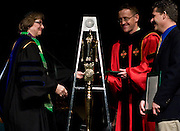 Ohio University Provost Dr. Kathy Krendl congratulates Geoff Buckley, center, and Tim Anderson on their Vision Ohio Awards during the Founders Day Convocation on Friday, February 15, 2008 in the Baker Ballroom in Athens, Ohio. photo by Kevin Riddell