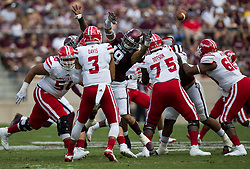 Texas A&M linebacker Anthony Hines III (19) pressures Louisiana-Lafayette quarterback Jordan Davis (3) during the first quarter of an NCAA college football game Saturday, Sept. 16, 2017, in College Station, Texas. (AP Photo/Sam Craft)