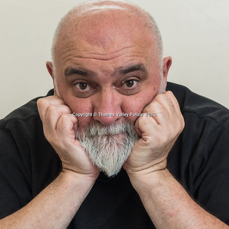 Comedian and motoring journalist, Alexei Sayle, visited Thames Valley Police Station at High Wycombe today (08/07) to review a Citroen DS5 hybrid car for the Saturday Telegraph that has been loaned to the force by Citroen UK. Alexei was shown around the station including the custody suite, where he had his finger prints taken. He was driven around the area, firstly in the Citroen and then in a Roads Policing Unit patrol car.High Wycombe, UNITED KINGDOM. July 08 2013. <br /> Photo Credit: MDOC/Thames Valley Police<br /> &copy; Thames Valley Police 2013. All Rights Reserved. See instructions.