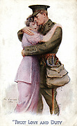 World War I postcard of 1914, showing British officer saying farewell to loved one and answering the call to duty.