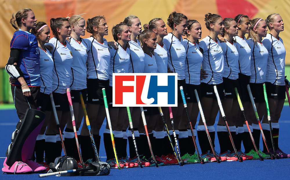 RIO DE JANEIRO, BRAZIL - AUGUST 15:  Germany stands for the national anthem before the quarter final hockey game against Germany on Day 10 of the Rio 2016 Olympic Games at the Olympic Hockey Centre on August 15, 2016 in Rio de Janeiro, Brazil.  (Photo by Christian Petersen/Getty Images)