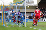 Darius Charles defender for AFC Wimbledon (32) comes close during the Sky Bet League 2 match between AFC Wimbledon and Crawley Town at the Cherry Red Records Stadium, Kingston, England on 16 April 2016. Photo by Stuart Butcher.