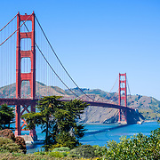 Golden Gate Bridge from Golden Gate park in San Francisco, CA.