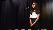 """Kathy Tran, of Strayer Middle School spells """"Cryptozoa"""" to win the Scripps Regional Spelling Bee at Penn Central Middle School Saturday March 12, 2016 in Perkasie, Pennsylvania. (Photo by William Thomas Cain)"""