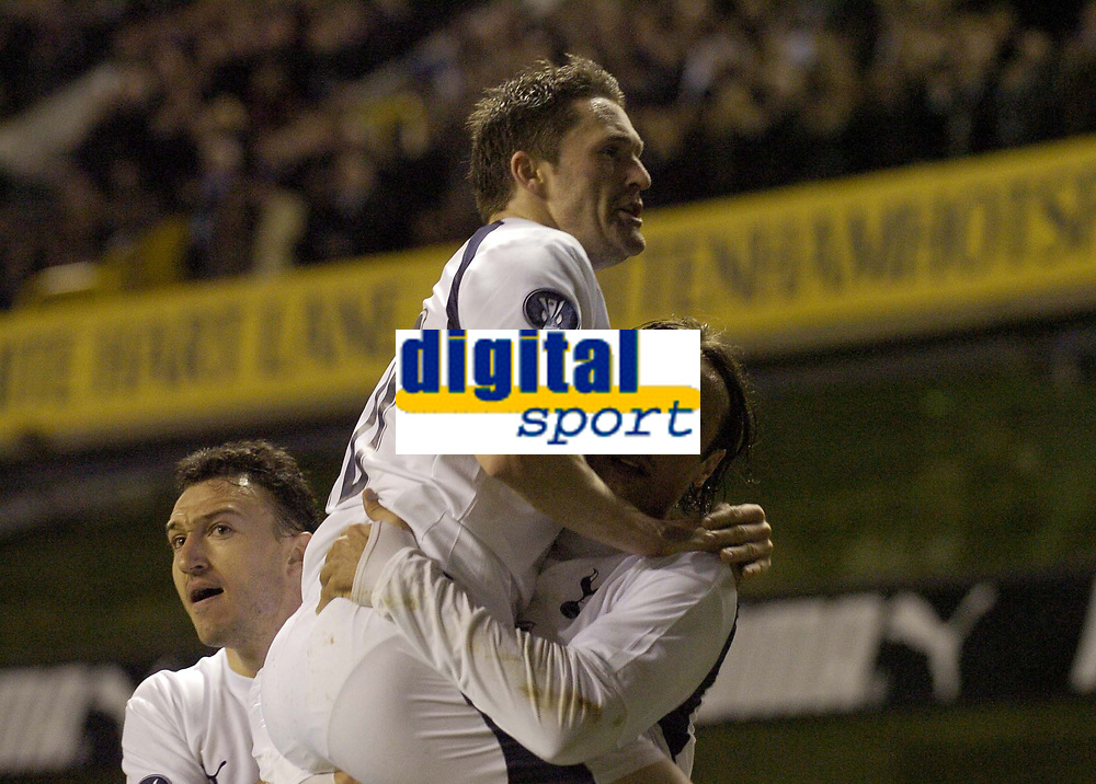 Photo: Olly Greenwood.<br />Tottenham Hotspur v FC Braga. UEFA Cup. 14/03/2007. Spurs Dimitar Berbatov celebrates scoring with Robbie Keane