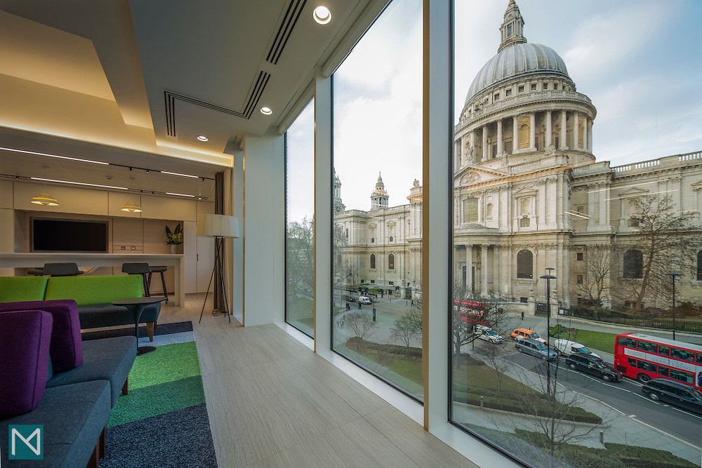 SEB's London office interior showing the view outside to St Paul's Cathedral through floor to ceiling windows, for Burtt-Jones and Brewer