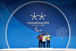 DAVIET Benjamin FRA LW2, ARENDZ Mark CAN LW6, REPTYUKH Ihor UKR LW8, ParaBiathlon, Para Biathlon, Podium at PyeongChang2018 Winter Paralympic Games, South Korea.