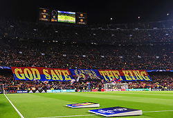 A general view of a Lionel Messi 'The King' banner at the Camp Nou Stadium - Mandatory by-line: Matt McNulty/JMP - 14/03/2018 - FOOTBALL - Camp Nou - Barcelona, Catalonia - Barcelona v Chelsea - UEFA Champions League - Round of 16 Second Leg