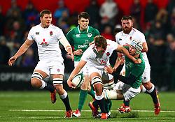 Ted Hill of England U20 is tackled by Niall Murray of Ireland U20 - Mandatory by-line: Ken Sutton/JMP - 01/02/2019 - RUGBY - Irish Independent Park - Cork, Cork - Ireland U20 v England U20 -