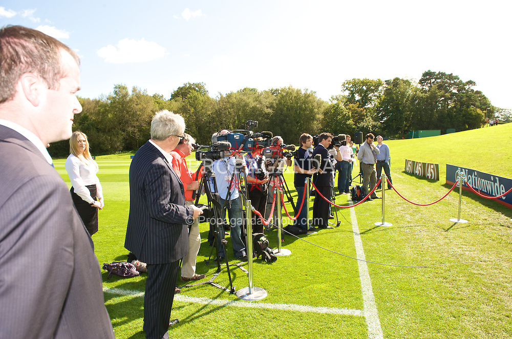 CARDIFF, WALES - Wednesday, September 9, 2009: FIFA President Joseph Sepp Blatter speaks to the media along-side General Secretary David Collins at the opening of the Wales national team training pitch ahead of the FIFA World Cup Qualifying Group 3 match against Russia. (Pic by David Rawcliffe/Propaganda)