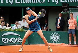 June 2, 2018 - Paris, France - MARIA SHARAPOVA of Russia returns the ball to opponent Karolina Pliskova of the Czech Republic at the end of their third-round match of the French Tennis Open 2018 at Roland Garros. Sharapova won 6-2, 6-1. (Credit Image: © Maya Vidon-White via ZUMA Wire)