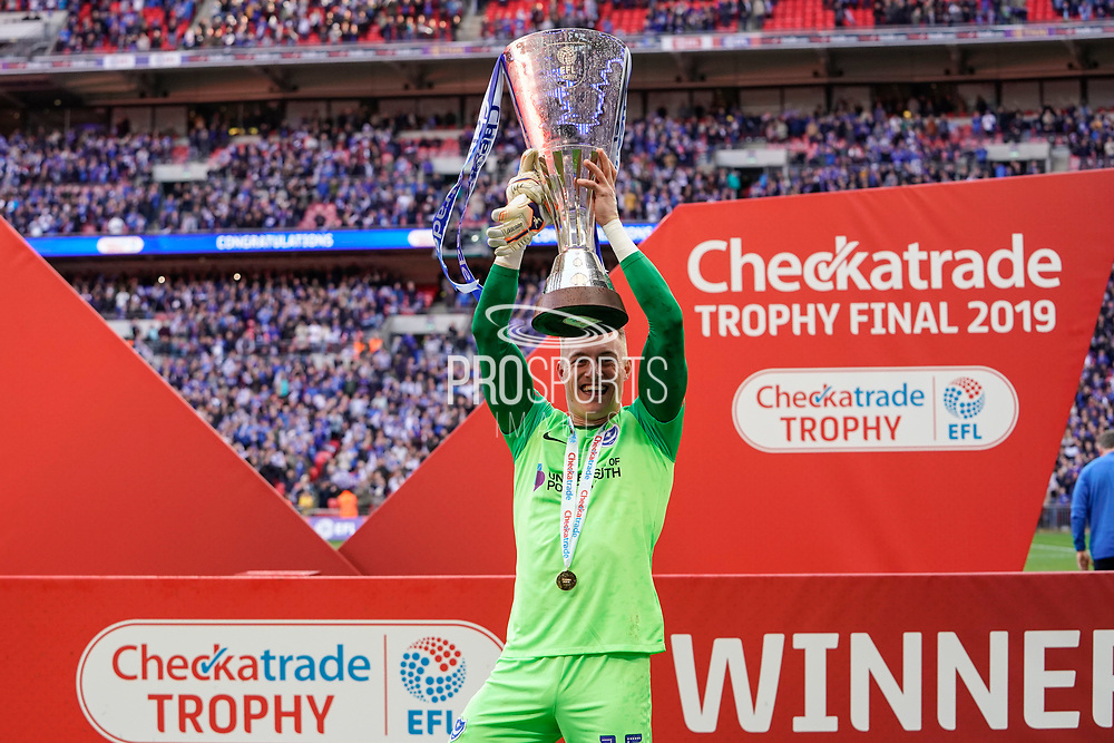 Craig MacGillivray of Portsmouth celebrates winning the Checkatrade EFL Trophy during the EFL Trophy Final match between Portsmouth and Sunderland at Wembley Stadium, London, England on 31 March 2019.