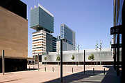 BARCELONA INTERNATIONAL CONFERENCE CENTRE WITH 2 TOWER BLOCKS IN BACKGROUND DESIGNED BY ARCHITECT: JOSE LUIS MATEO