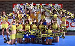 Cheerleaders of Cimos Koper at handball match of 4th Round of EHF Men Championsleague between RK Cimos Koper (SLO) and Steaua MFA Bucuresti (ROM), in Arena Bonifika, Koper, Slovenia, on November 8, 2008. Steaua  won the match 30:29.