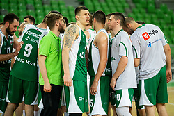 Players of Krka look dejected after the basketball match between KK Petrol Olimpija and KK Krka in Round #6 of Liga Nova KBM za prvaka 2018/19, on April 5, 2019, in Arena Stozice, Ljubljana, Slovenia. Photo by Vid Ponikvar / Sportida