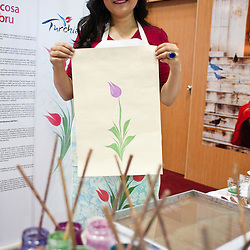 Milan, Italy - February  17: Assistant Professor Pinar Yazkac demonstrates Ebru technique at BIT International Tourism Exchange on february 17, 2012 in Milan, Italy.