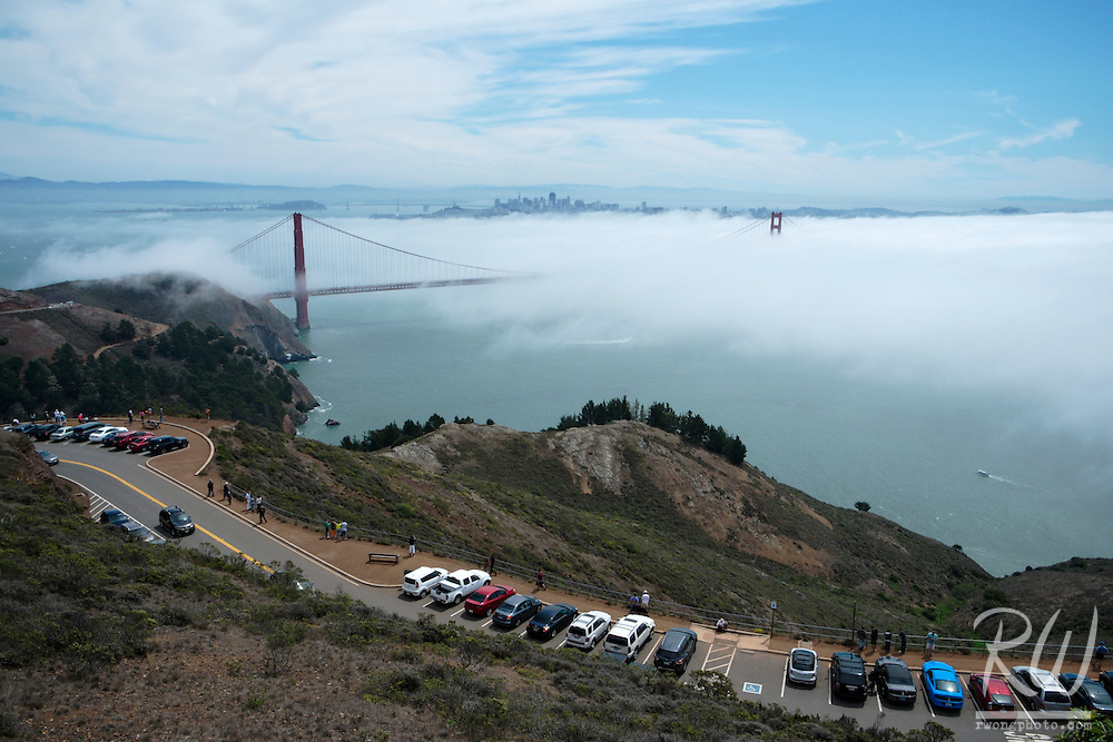 Summer Tourists Line Up Along Conzelman Road in the Marin Headlands to View Fog Rolling Into San Francisco, Golden Gate National Recreation, Area, California