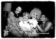 L-R:  Ernie Glam, Michael Alig, James St. James and friend (holding chicken) pose for a photo at club Limelight in April 1991, New York City.<br /> <br /> Copyright Catherine McGann / All Rights Reserved<br /> www.catherinemcgann.com<br /> catherinemcgann@gmail.com