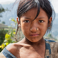 Portrait of a Nepalese girl taken between Pati Bhanjyang and  Thankuni Bhanjyang.