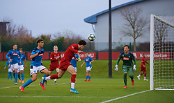 KIRKBY, ENGLAND - Wednesday, November 27, 2019: Liverpool's captain Curtis Jones sets-up the fifth goal during the UEFA Youth League Group E match between Liverpool FC Under-19's and SSC Napoli Under-19's at the Liverpool Academy. (Pic by David Rawcliffe/Propaganda)