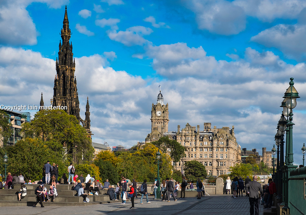 View of Edinburgh with Scott Monument of left and Balmoral Hotel , Scotland, United Kingdom.