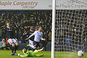 Everton striker Cenk Tosun (14) shoots the ball past Millwall goalkeeper Jordan Archer (1) and scores and celebrates during the The FA Cup fourth round match between Millwall and Everton at The Den, London, England on 26 January 2019.