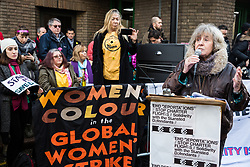 Chelmsford, UK. 6th February, 2019. Margot Leicester, mother of one of the Stansted 15, addresses activists from around the UK gathered to show solidarity with the Stansted 15 before their sentencing at Chelmsford Crown Court. The Stansted 15 were convicted on 10th December of an anti-terrorism offence under the Aviation and Maritime Security Act 1990 following non-violent direct action to try to prevent a Home Office deportation flight carrying precarious migrants to Nigeria, Ghana and Sierra Leone from taking off from Stansted airport in March 2017.