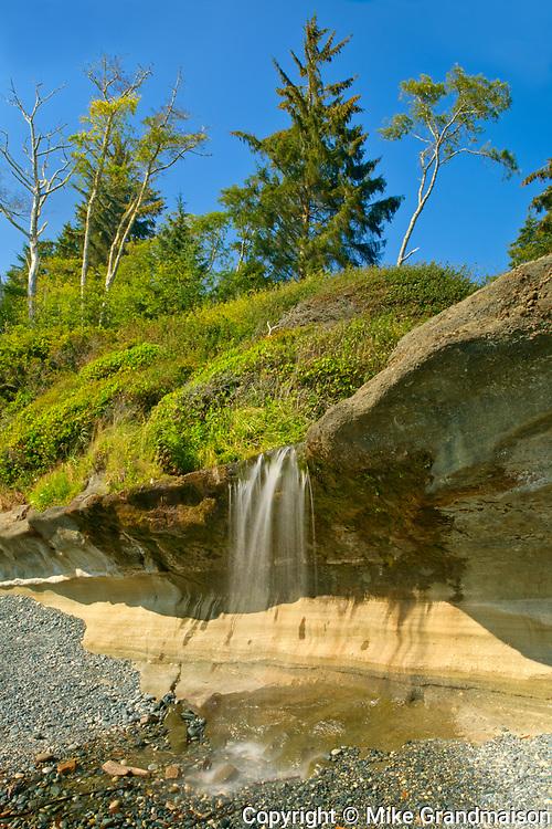 Waterfall on Sandcut Beach. <br />Jordan River Regional Park<br />British Columbia<br />Canada