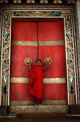 """A Buddhist monk enters the formidable doors of Trongsa Dzong, the Ancestral home of Bhutan's monarchy. The Himalayan kingdom of Bhutan has sat in isolation for thousands of years and only recently has been thrust into the glare of modern times after centuries of solitude. Bhutan is a tiny, remote, and impoverished country wedged precariously between two powerful neighbors, India and China. Violent storms coming off the Himalaya gave the country its name, meaning """"Land of the Thunder Dragon."""" This conservative Buddhist kingdom high in the Himalaya had no paved roads until the 1960s, was off-limits to foreigners until 1974, and launched television only in 1999 ."""