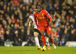 LONDON, ENGLAND - Wednesday, February 12, 2014: Liverpool's Aly Cissokho in action against Fulham during the Premiership match at Craven Cottage. (Pic by David Rawcliffe/Propaganda)