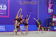 France's group of rhythmic gymnastics at the World Championship of Pesaro. Competition of 2018.