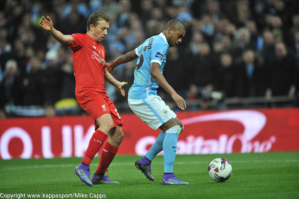 MANCHESTER CITY FERNANDINHO GETS PAST LIVERPOOL LUCAS LEIVA, Liverpool FC v Manchester City FC Capital One Cup Final, Wembley Stadium, Sunday 28th Febuary 2016