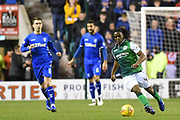 40 Stephane Omeonga on the ball during the Ladbrokes Scottish Premiership match between Hibernian and Rangers at Easter Road, Edinburgh, Scotland on 8 March 2019.