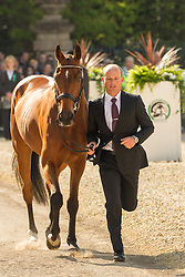 Michael Jung (GER) leads La Biosthetique-Sam FBW for the vet's inspection during the trot up at the 2013 Mitsubishi Motors Badminton Horse Trials. Thursday 02  May  2013.  Badminton, Gloucs, UK..Photo by: Mark Chappell / i-Images
