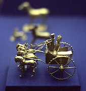 Gold model chariot from the Oxus treasure. Achaemenid Persian, 5-4th century BC. Takht-l-Kuwad region. Tadjikistan.