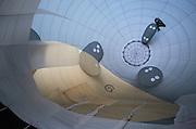 Interior of partially inflated hot air balloon; International Festival de Montgolfieres at Saint-Jean-sur-Richelieu, Quebec
