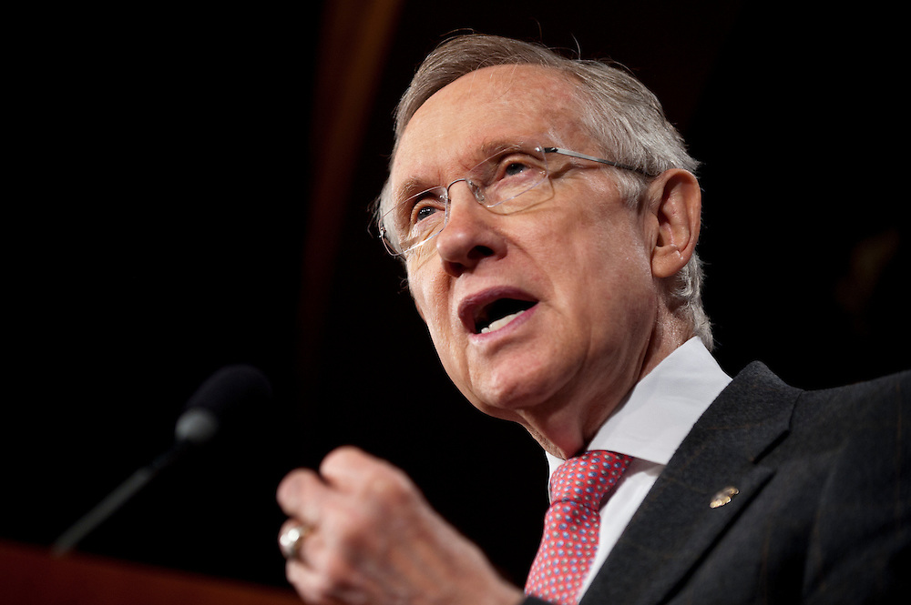 Senate Majority Leader HARRY REID (D-NV) during a news conference on Capitol Hill Wednesday, where Democratic Senators called for making job creation part of the deficit reduction negotiation. Democrats suggested that the Republicans are trying to slow the economic recovery for political gain.