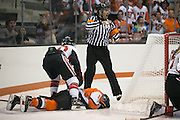 An official sends a Pursuit of Excellence player to the box after she knocked down RIT's Kolbee McCrea during an exhibition game at RIT's Gene Polisseni Center on Monday, September 29, 2014.