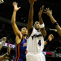 10 March 2007:   Washington Wizards forward Antawn Jamison (4) scores 2 of his 18 points in the second half against New York Knicks forward Jared Jeffries  (20) at the Verizon Center in Washington, D.C.  The Knicks defeated the Wizards 90-89.