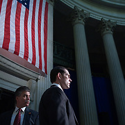 US Secret Service agents stand post as President George W. Bush  speaks on the economy at Federal Hall Wednesday, January 3, 2007, in New York.<br /> <br /> Khue Bui for Newsweek