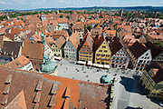 ROTHENBURG OB DER TAUBER, GEMANY - SEPTEMBER 06, 2010: Aerial view of the town from the Town Hall Tower in Rothenburg Ob Der Tauber, Germany. Filmed with fish-eye lens.