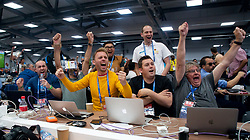 MOSCOW, RUSSIA - Wednesday, June 27, 2018: English journalists and photographers watch a television in the Media Centre as Germany are eliminated from the World Cup losing 2-0 to South Korea, before the FIFA World Cup Russia 2018 Group E match between Serbia and Brazil at the Spartak Stadium. (Pic by David Rawcliffe/Propaganda)