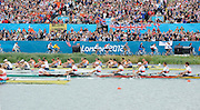 Eton Dorney, Windsor, Great Britain,..2012 London Olympic Regatta, Dorney Lake. Eton Rowing Centre, Berkshire[ Rowing]...Description;  Men's Eights Final..GER.M8+. Filip ADAMSKI (b) , Andreas KUFFNER (2) , Eric JOHANNESEN (3) , Maximilian REINELT (4) , Richard SCHMIDT (5) , Lukas MUELLER (6) , Florian MENNIGEN (7) , Kristof WILKE (s) , Martin SAUER (c).CAN.M8+.  Gabriel BERGEN (b) , Douglas CSIMA (2) , Rob GIBSON (3) , Conlin MCCABE (4) , Malcolm HOWARD (5) , Andrew BYRNES (6) , Jeremiah BROWN (7) , Will CROTHERS (s) , Brian PRICE (c).GBR.M8+ Alex PARTRIDGE (b) , James FOAD (2) , Tom RANSLEY (3) , Richard EGINGTON (4) , Mohamed SBIHI (5) , Greg SEARLE (6) , Matt LANGRIDGE (7) , Constantine LOULOUDIS (s) , Phelan HILL (c).USA.M8+ David BANKS (b) , Grant JAMES (2) , Ross JAMES (3) , William MILLER (4) , Giuseppe LANZONE (5) , Stephen KASPRZYK (6) , Jacob CORNELIUS (7) , Brett NEWLIN (s) , Zachary VLAHOS (c).NED.M8+. Sjoerd HAMBURGER (b) , Diederik SIMON (2) , Rogier BLINK (3) , Matthijs VELLENGA (4) , Roel BRAAS (5) , Jozef KLAASSEN (6) , Olivier SIEGELAAR (7) , Mitchel STEENMAN (s) , Peter WIERSUM (c).AUS.M8+. Matthew RYAN (b) , Francis HEGERTY (2) , Cameron MCKENZIE MCHARG (3) , Bryn COUDRAYE (4) , Thomas SWANN (5) , Joshua BOOTH (6) , Samuel LOCH (7) , Nicholas PURNELL (s) , Tobias LISTER (c)  Dorney Lake. 12:35:56  Wednesday  01/08/2012.  [Mandatory Credit: Peter Spurrier/Intersport Images].Dorney Lake, Eton, Great Britain...Venue, Rowing, 2012 London Olympic Regatta...