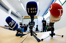 Michrophones of 24ur, RTV Slovenija and Planet TV at press conference a day before the last 2010 FIFA Qualifications match between San Marino and Slovenia, on October 13, 2009, in Olimpico Stadium, Serravalle, San Marino.  (Photo by Vid Ponikvar / Sportida)