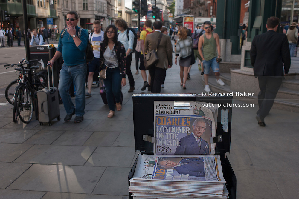 An newspaper headline featuring a portrait of Prince Charles, the Londoner of the decade, according to the Evening Standard, in the City of London, England UK.