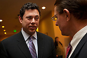 Rep. Jason Chaffetz, R-Utah, speaks with Ken Ivory at the Utah Republican Party results party, Tuesday, Nov. 6, 2012.
