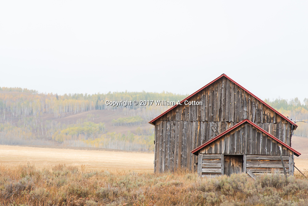 An weathered barn stands in fall in North Park near Rabbit Ears Pass, September 29, 2017.