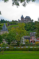 Germany, River Rhine. Turreted hilltop castle and old town along the Rhine in Southern Germany.
