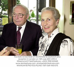 The DUKE & DUCHESS OF RICHMOND & GORDON at a reception in London on 18th July 2001.	ORH 2